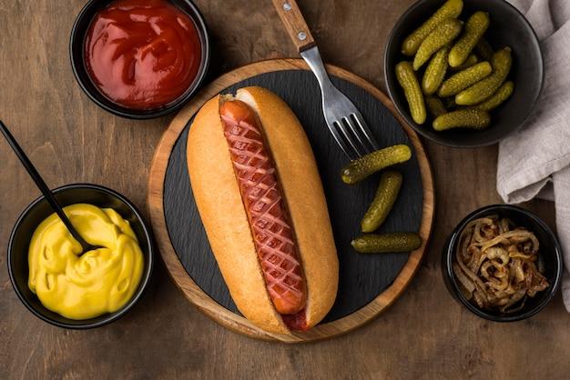 Widok Z Góry Układ Hot Dog Darmowe Zdjęcia