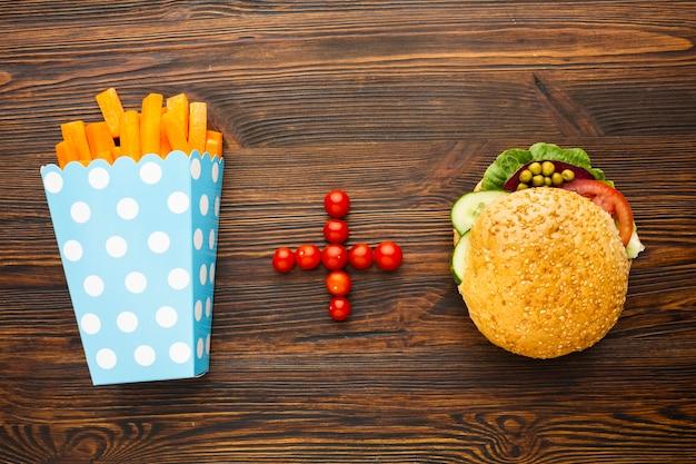 Widok Z Góry Wegańskie Fast Foody Darmowe Zdjęcia
