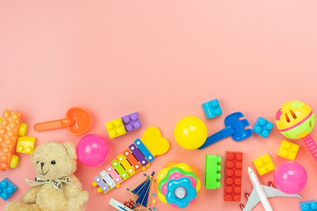 Widok z góry zabawek Premium Zdjęcia