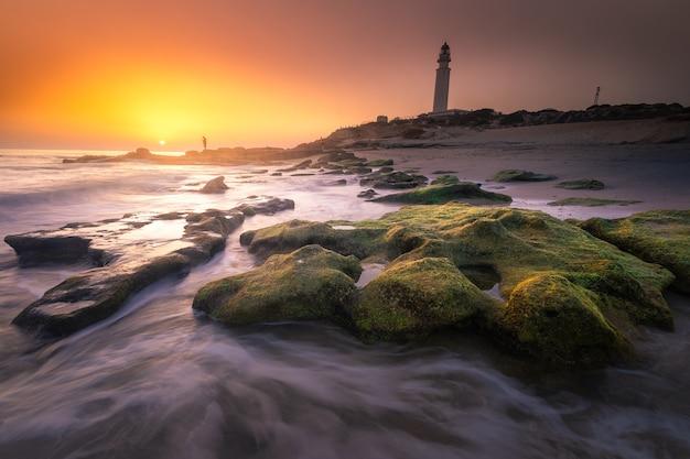 Widok Z Latarni Morskiej Trafalgar W Prowincji Kadyks W Hiszpanii. Premium Zdjęcia