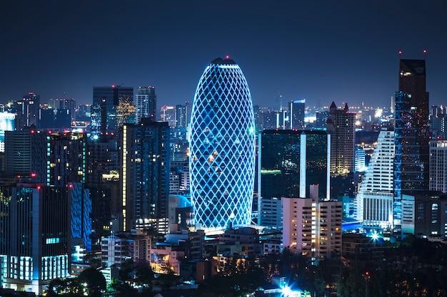 Widok z lotu ptaka bangkok centrum miasta skyline tajlandii Premium Zdjęcia