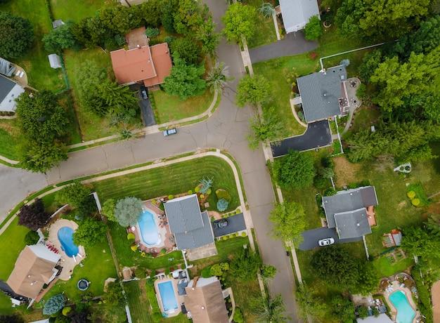 Widok Z Lotu Ptaka Dzielnic Mieszkalnych W Pięknym Mieście Miejskim, Nj, Usa Premium Zdjęcia