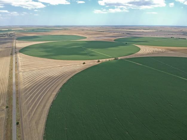 Widok Z Lotu Ptaka Na Okrągłe Pole Na Ukrainie Premium Zdjęcia