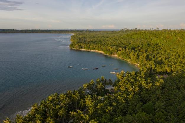 Widok Z Lotu Ptaka Na Plażę Z Białym Piaskiem I Turkusową Czystą Wodą W Indonezji Darmowe Zdjęcia