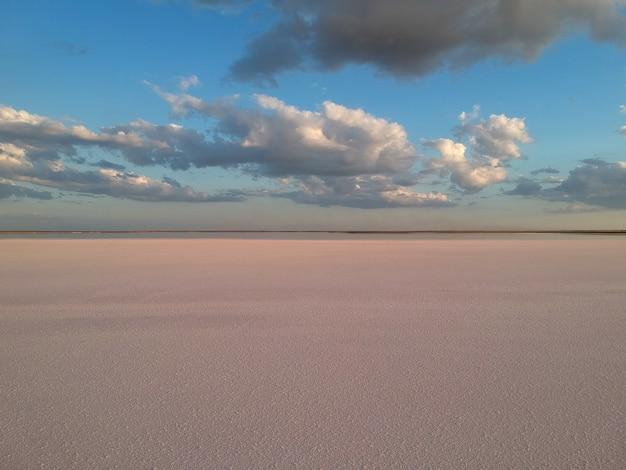 Widok Z Lotu Ptaka Na Różowe Słone Jezioro Premium Zdjęcia