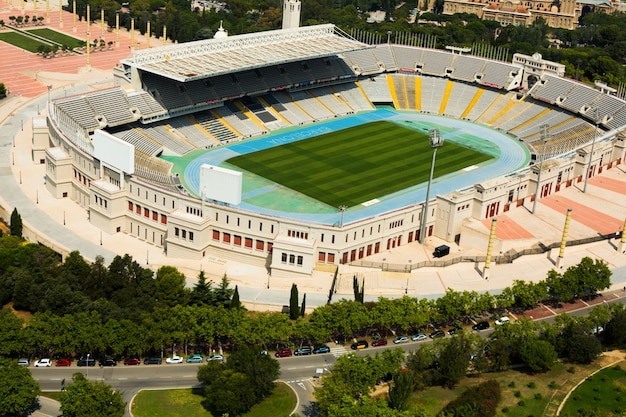Widok z lotu ptaka olimpic stadion barcelony. hiszpania Darmowe Zdjęcia