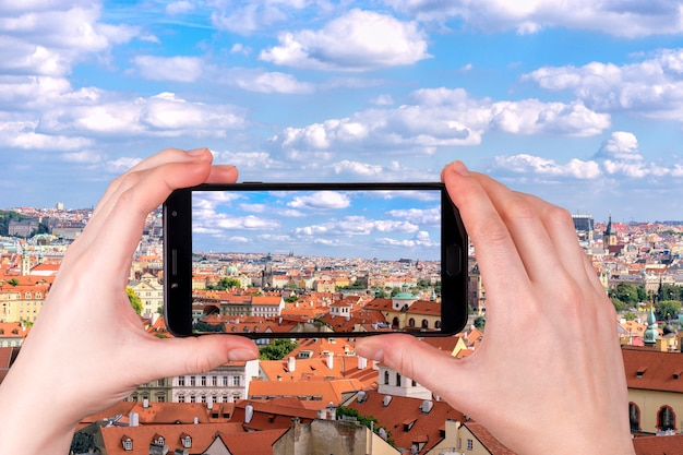 Widok Z Lotu Ptaka Praga Miasto Republika Czech Premium Zdjęcia