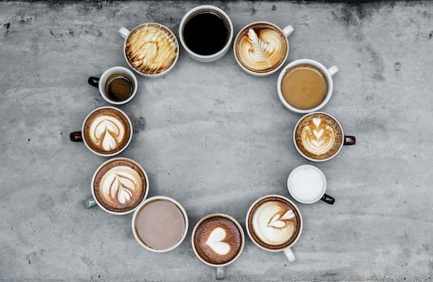 Widok z lotu ptaka różnorodnej kawy Darmowe Zdjęcia