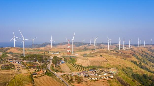 Widok Z Lotu Ptaka Wiatrak Farmy Elektrycznej Khao Kho Phetchabun Premium Zdjęcia