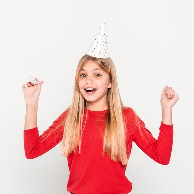 Widok Z Przodu Dziewczyna Z Urodziny Coif Darmowe Zdjęcia