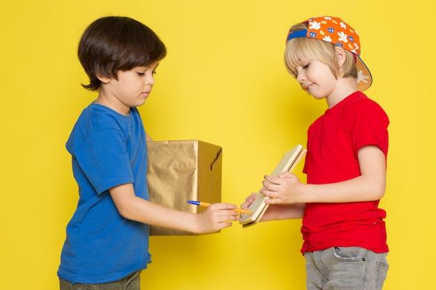 Widok Z Przodu Małych Chłopców W Czerwonych I Niebieskich T-shirtach Kolorowych Czapkę I Szare Dżinsy Gospodarstwa Pudełko Na żółtym Tle Darmowe Zdjęcia