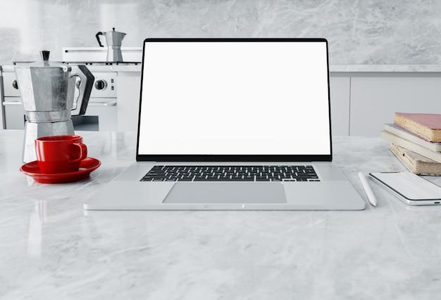 Widok Z Przodu Parku Roboczego Z Pustym Ekranem Laptopa W Domowym Biurze Premium Zdjęcia