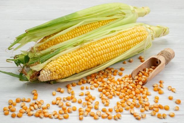 Widok Z Przodu Surowe żółte Odciski Ze Skórkami I Nasionami Kukurydzy Na Białym, Surowa Mączka Kukurydziana Darmowe Zdjęcia