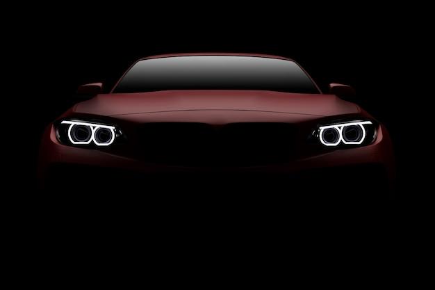 Widok Z Przodu Typowego I Pozbawionego Brandów Czerwonego Nowoczesnego Samochodu Sportowego Premium Zdjęcia