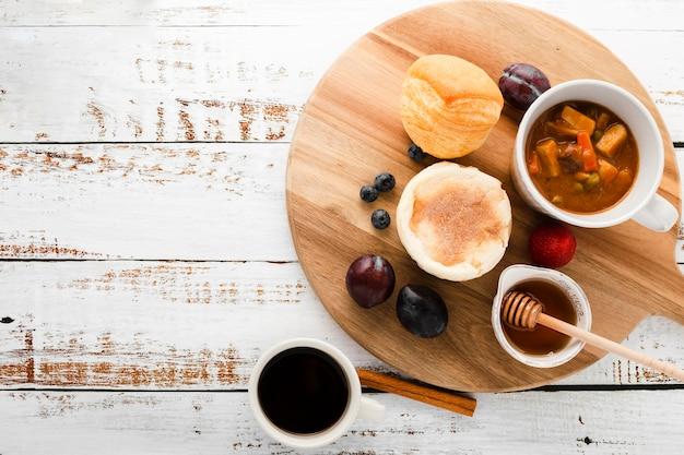 Widok Z Przodu Zestaw Składników śniadaniowych Darmowe Zdjęcia