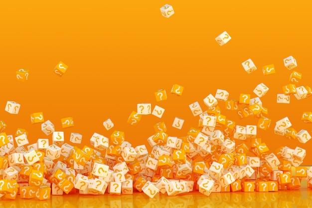 Wiele Spadających Klocków Ze Znakami Zapytania Premium Zdjęcia