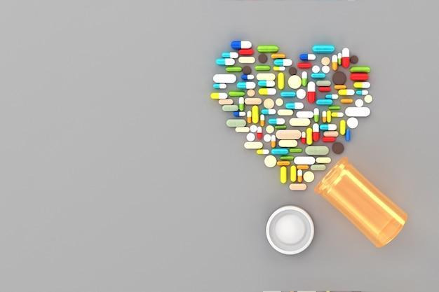 Wiele tabletek rozrzuconych na powierzchni w formie serc. 3d ilustracji Premium Zdjęcia