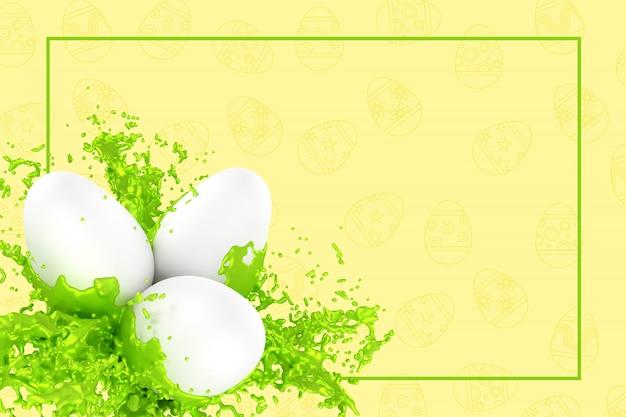 Wielkanocna kartka z pozdrowieniami 3d ilustracja Premium Zdjęcia