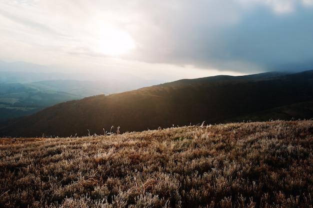 Wielkie wzgórza o zamarzniętym poranku w karpatach o wschodzie słońca Premium Zdjęcia
