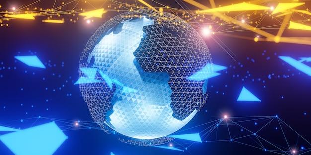 Wielokątna Kula Ziemska 3d Z Globalnymi Połączeniami Linii., Globalna Sieć Społecznościowa., Model 3d I Ilustracja. Premium Zdjęcia