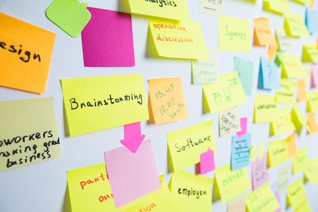 Wielokolorowe karteczki samoprzylepne na ścianie. koncepcja burzy mózgów, spotkanie, praca zespołowa. Premium Zdjęcia