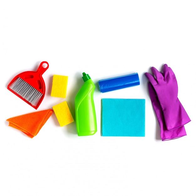 Wielokolorowy zestaw do jasnego wiosennego sprzątania w domu. Premium Zdjęcia