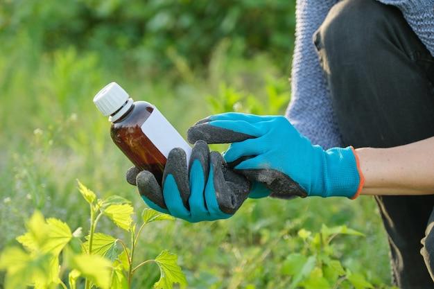 Wiosenna Praca W Ogrodzie, Butelka Nawozu Chemicznego, Fungicyd W Ręce Ogrodniczki Premium Zdjęcia
