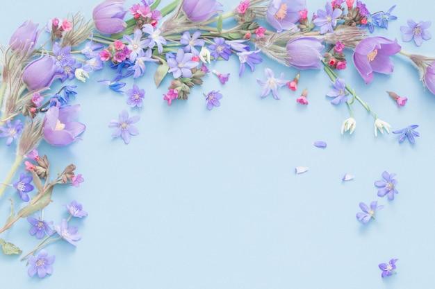 Wiosenne Kwiaty Na Niebieskim Tle Premium Zdjęcia