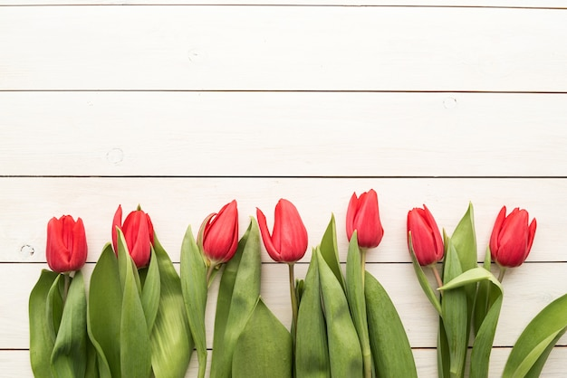 Wiosna, Koncepcja Kwiaty. Czerwone Tulipany Na Tle Biały Drewniany Stół, Miejsce Premium Zdjęcia