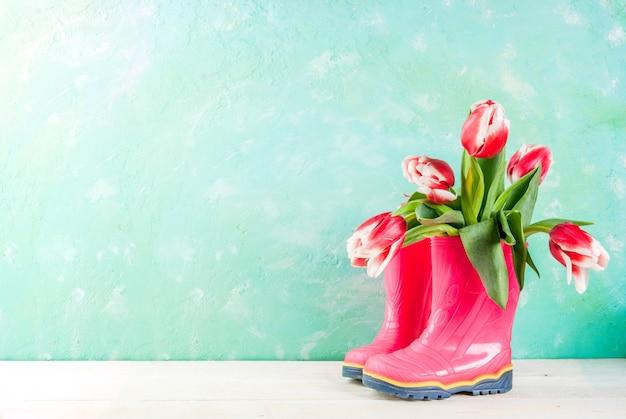 Wiosna Kwiaty Tulipany W Gumowych Jasnoróżowych Butach, Na Jasnoniebieskim I Drewnianym Białym. Premium Zdjęcia