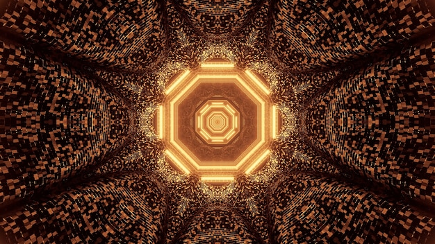 Wirtualna Projekcja Złotych świateł Tworzących Ośmiokątny Wzór Darmowe Zdjęcia