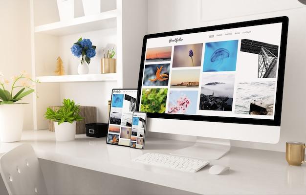 Witryna Portfolio W Konfiguracji Biura Domowego Renderowanie 3d Premium Zdjęcia