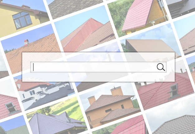 Wizualizacja paska wyszukiwania na kolażu wielu zdjęć z fragmentami różnych rodzajów pokryć dachowych. Premium Zdjęcia