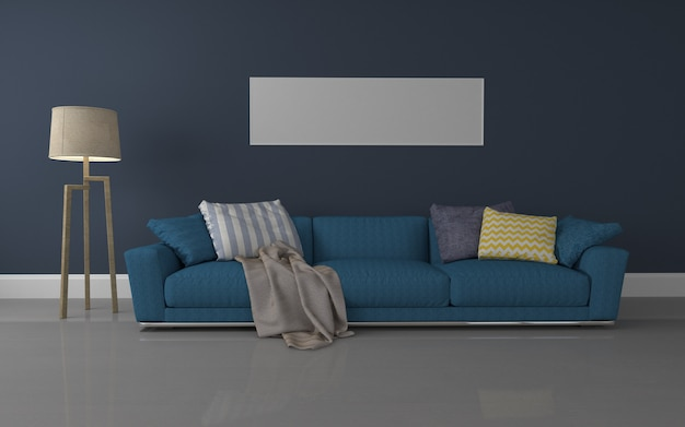 Wnętrze luksusowego salonu realistyczna makieta 3d renderowanej sofy - lampa i rama Premium Zdjęcia