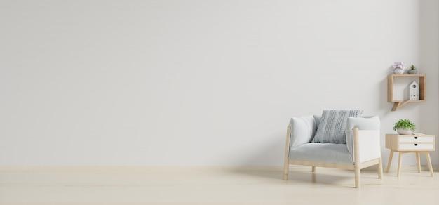 Wnętrze Ma Fotel Na Pustej Białej ścianie Premium Zdjęcia