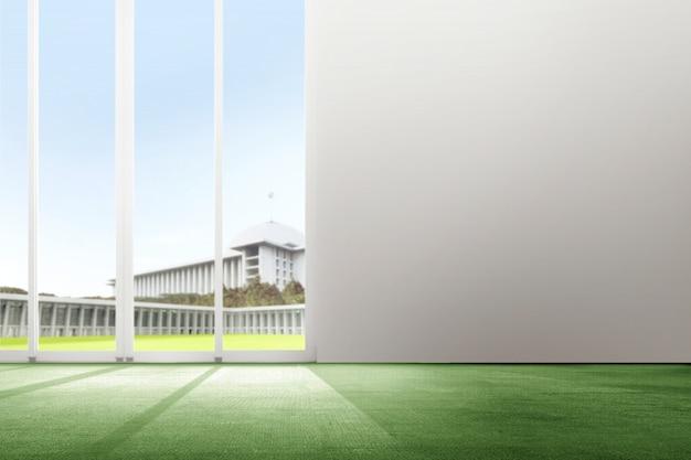 Wnętrze pokój z zielonym dywanu i szkła drzwiowym tłem Premium Zdjęcia