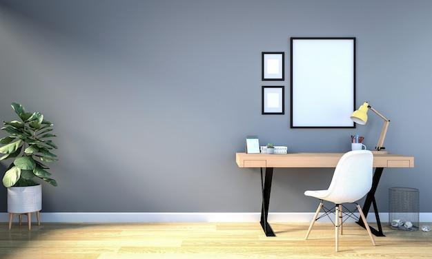 Wnętrze pokoju roboczego z pustą ramką do makiety na ścianie Premium Zdjęcia