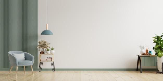 Wnętrze Posiada Fotel Na Pustym Tle Białej ściany, Renderowanie 3d Premium Zdjęcia