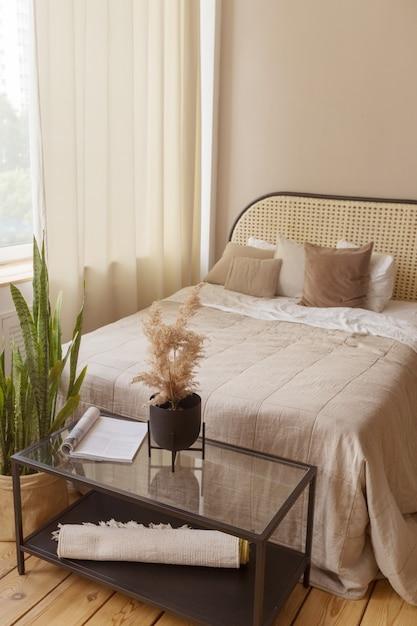 Wnętrze Przytulnej Sypialni światła Premium Zdjęcia