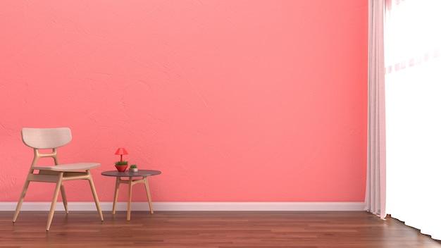 Wnętrze salon różowy pastelowa ściana biała drewniana podłoga szablon okna krzesła Premium Zdjęcia