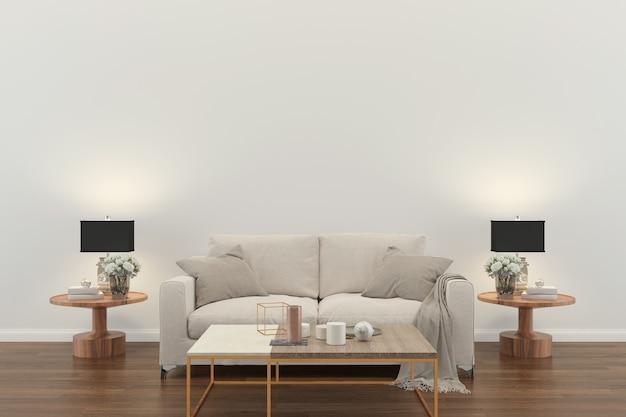 Wnętrze Salonu. 3d Odpłacają Się Drewnianą Podłogową Drewnianą ścienną Projekt Kopii Przestrzeń Premium Zdjęcia