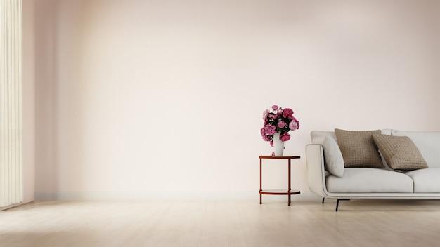 Wnętrze Salonu Plakat Z Kolorową Białą Sofą Premium Zdjęcia