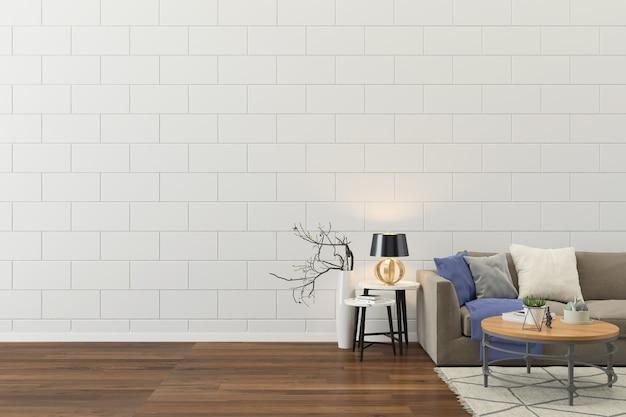 Wnętrze salonu ściany domu podłoga szablon tło Premium Zdjęcia