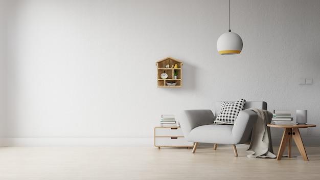 Wnętrze Salonu Z Kolorową Białą Sofą Premium Zdjęcia