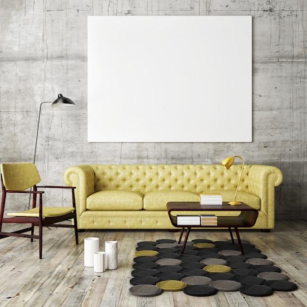 Wnętrze salonu z meblami, kanapą i pustą ramką na zdjęcia Premium Zdjęcia