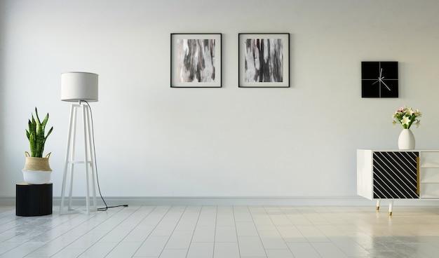 Wnętrze Salonu Z Obrazami Na Tle Szarej ściany, Renderowania 3d Premium Zdjęcia