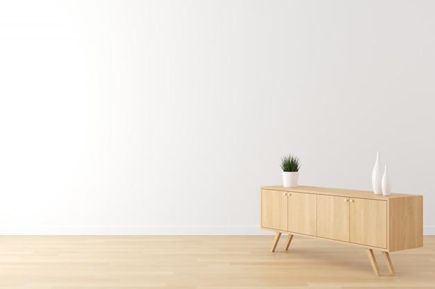Wnętrze sceny życia biała ściana, drewniana podłoga i drewniane szafki do reklamy z pustą przestrzenią na tekst. Premium Zdjęcia