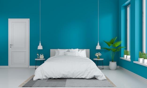 Wnętrze Sypialni Niebieski Premium Zdjęcia