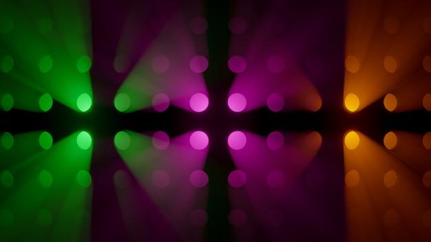 Wolumetryczne kolorowe promienie świetlne w tle dymu Premium Zdjęcia