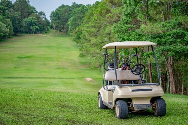 Wózek Golfowy Na Torze Golfowym Na Wzgórzach Premium Zdjęcia